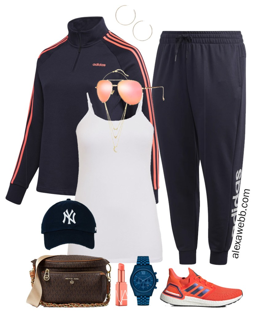 Plus Size Tracksuit Outfits in Navy and Coral for Fall Running Errands with Adidas Sneakers - Alexa Webb #plussize #alexawebb