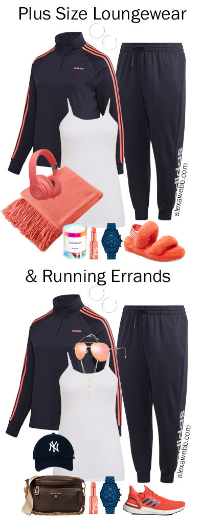 Plus Size Tracksuit Outfits in Navy and Coral for Fall Loungewear and Athleisure for Running Errands - Alexa Webb #plussize #alexawebb