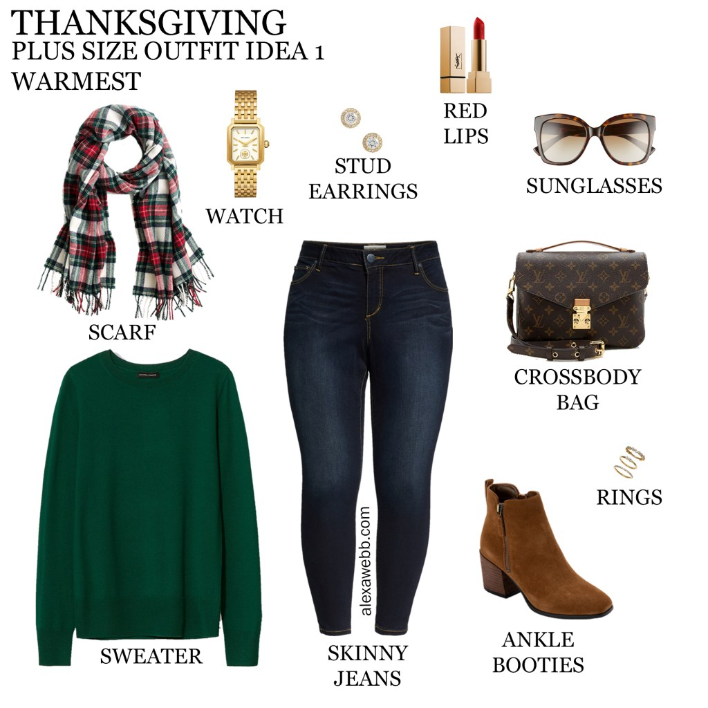2020 Plus Size Thanksgiving Outfits – Outfit 1 Warmest with Green Sweater, Plaid Scarf, Jeans, and Ankle Booties - Alexa Webb #plussize #alexawebb