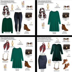 2020 Thanksgiving Day Outfit Ideas with plaid and green - Alexa Webb #plussize #alexawebb