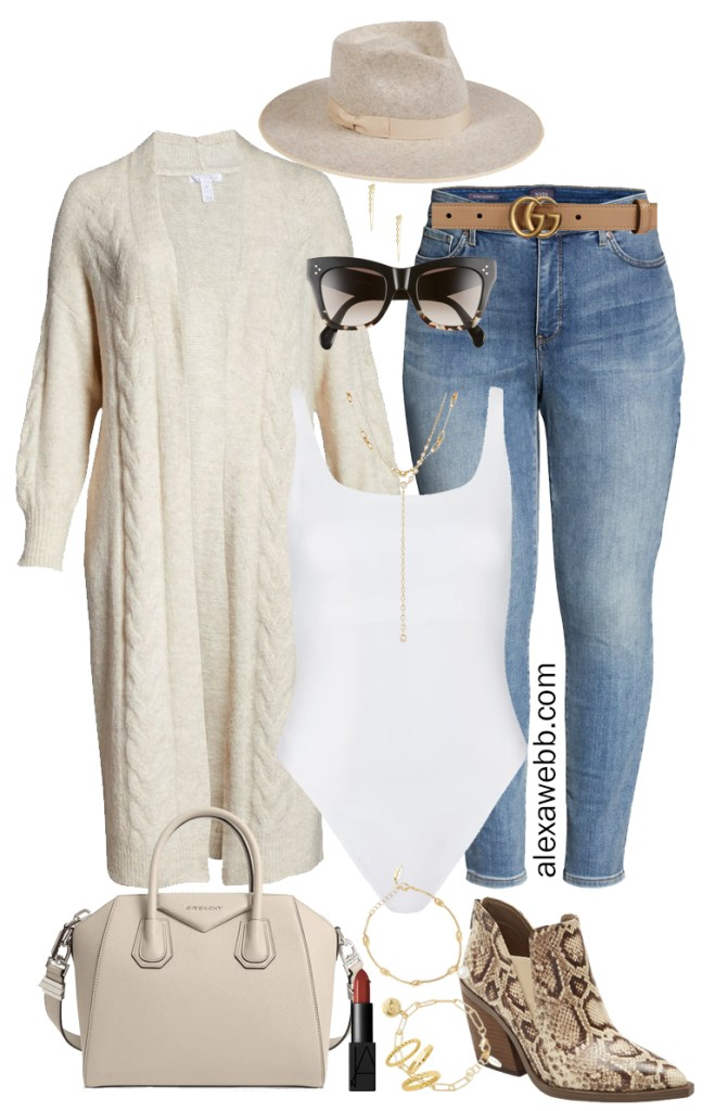 Plus Size Duster Cardigan Outfit with long cable knit cardigan, bodysuit, jeans, and ankle booties for fall and winter - Alexa Webb #plussize #alexawebb