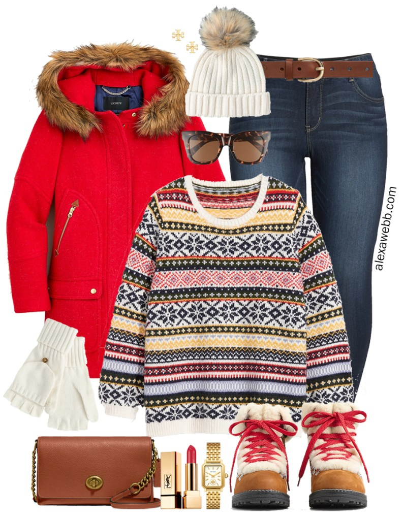 Plus Size Fair Isle Winter Outfit with Colorful Fair Isle Sweater, Red Hooded Parka, Skinny Jeans, and Hiking Snow Boots - Alexa Webb #plussize #alexawebb