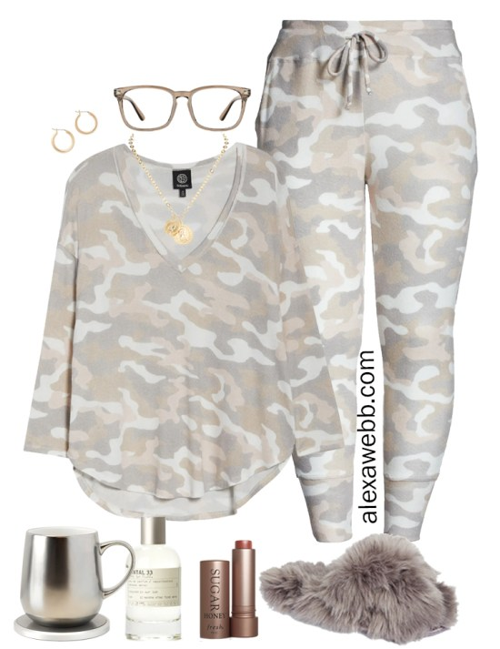 Plus Size Luxury Loungewear Outfit with Camo T-Shirt and Matching Camo Joggers with Fuzzy Slippers - Alexa Webb #plussize #alexawebb