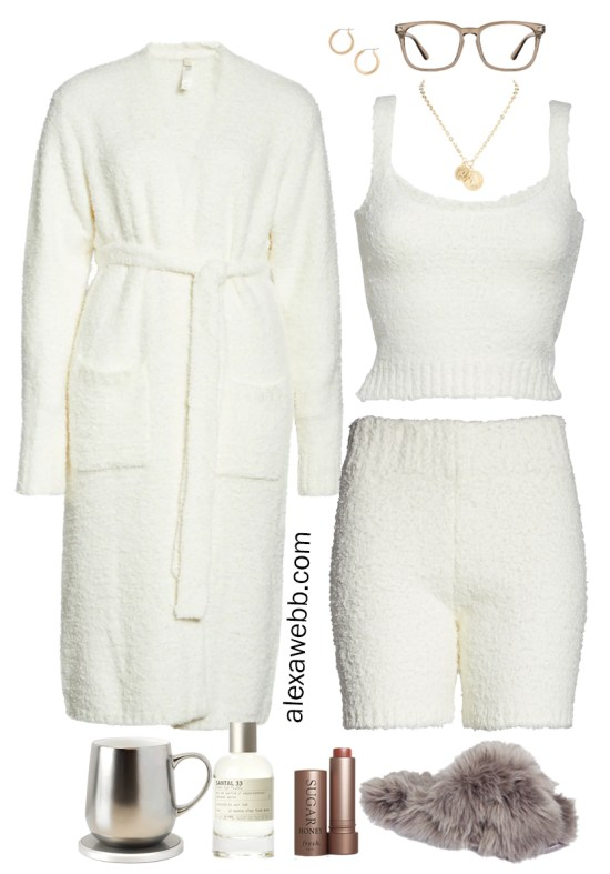 Plus Size Luxury Loungewear Outfit with Ivory Cream Soft Tank Top and Matching Shorts and Robe with Fuzzy Slippers - Alexa Webb #plussize #alexawebb