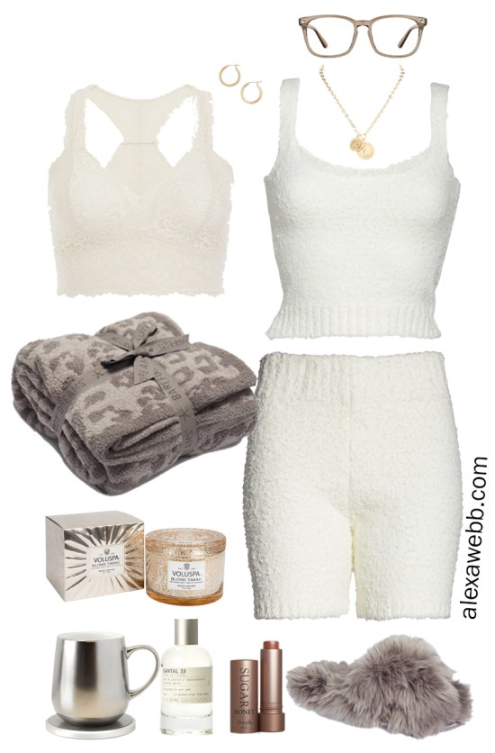 Plus Size Luxury Loungewear Outfit with Lace Bralette, Ivory Cream Soft Tank Top and Matching Shorts with Fuzzy Slippers - Alexa Webb #plussize #alexawebb