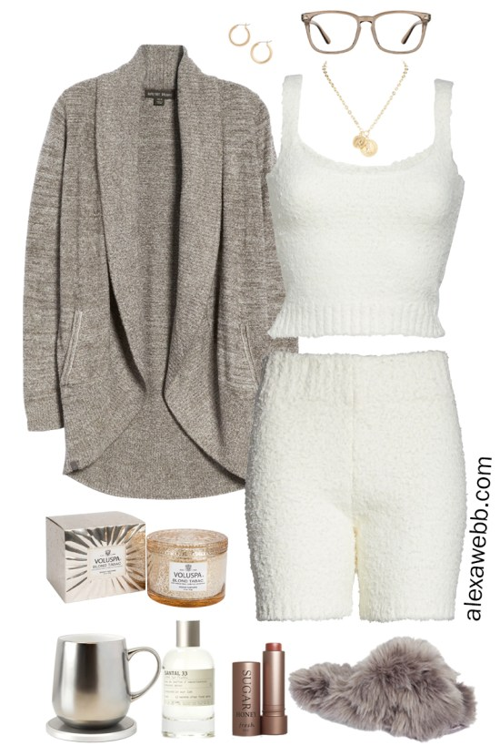 Plus Size Luxury Loungewear Outfit with Barefoot Dreams Cardigan, Ivory Cream Soft Tank Top and Matching Shorts with Fuzzy Slippers - Alexa Webb #plussize #alexawebb