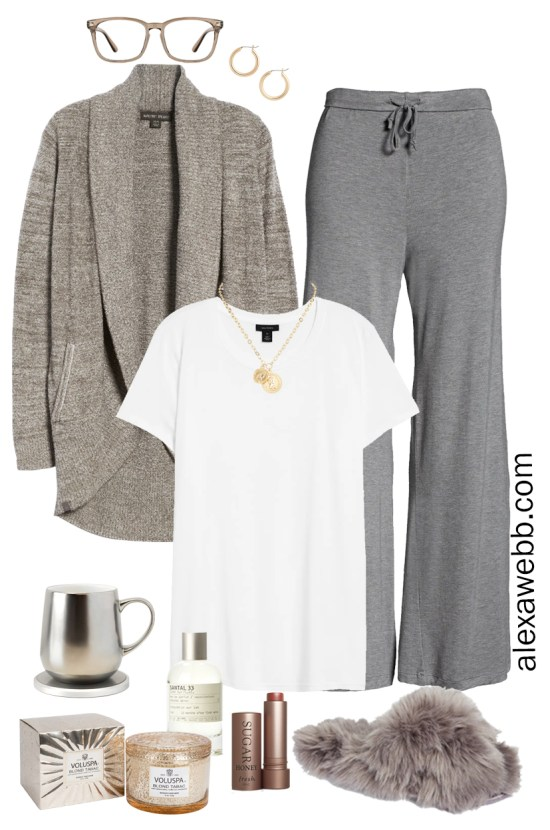 Plus Size Luxury Loungewear Outfit with a Barefoot Dreams Cardigan and Sleep Pants with Fuzzy Slippers - Alexa Webb #plussize #alexawebb