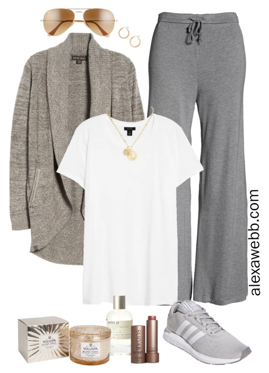 Plus Size Luxury Loungewear Outfit with a Barefoot Dreams Cardigan and Sleep Pants with Sneakers - Alexa Webb #plussize #alexawebb