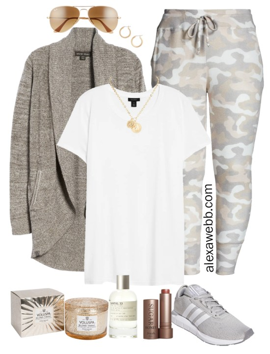 Plus Size Luxury Loungewear Outfit with Barefoot Dreams Cardigan and Camo Joggers with Sneakers - Alexa Webb #plussize #alexawebb