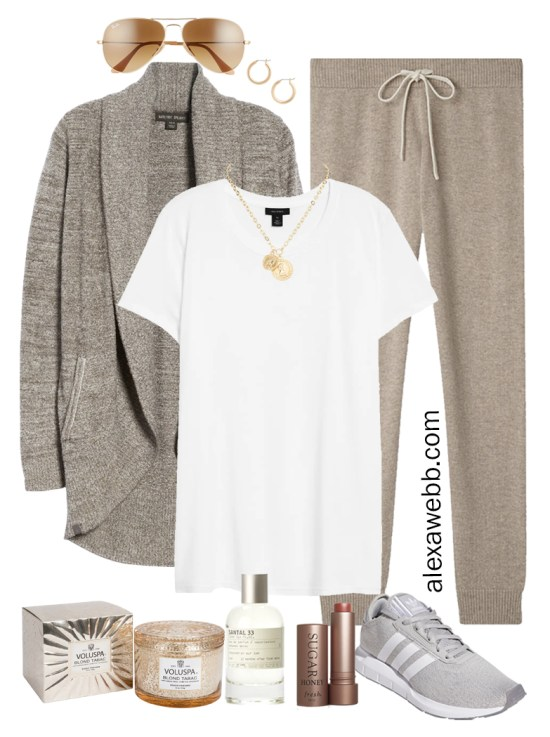 Plus Size Luxury Loungewear Outfit with a Barefoot Dreams Cardigan and Cashmere Joggers with Sneakers - Alexa Webb #plussize #alexawebb