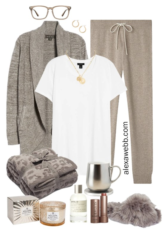 Plus Size Luxury Loungewear Outfit with a Barefoot Dreams Cardigan and Cashmere Joggers with Fuzzy Slippers - Alexa Webb #plussize #alexawebb