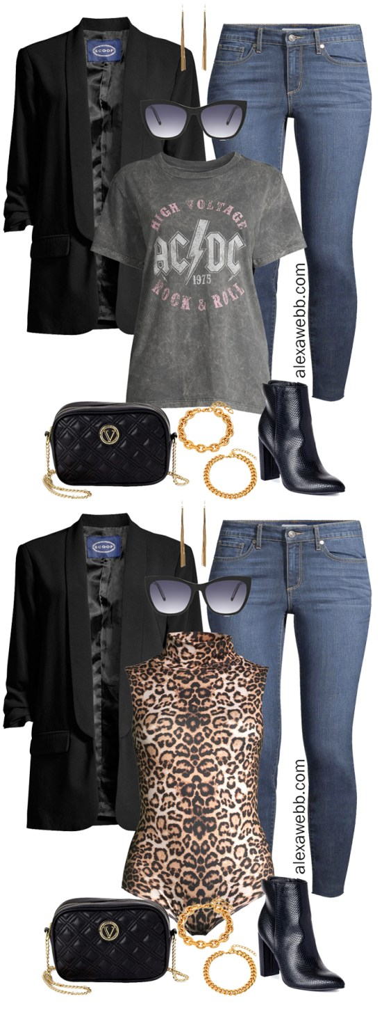Plus Size Blazer & Jeans Outfits with Walmart and a t-shirt and ankle booties for fall and winter - Alexa Webb #plussize #alexawebb