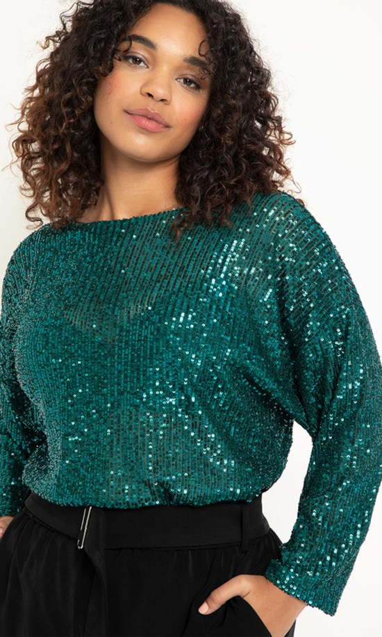 15 Plus Size Sparkly Tops for Holiday Zoom Calls - Plus Size Sequin Tops - Alexa Webb #plussize #alexawebb