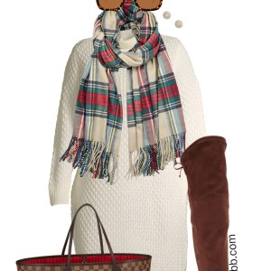 Plus Size Ivory Sweater Dress Outfit with Wide Calf Over-the-Knee OTK Boots, Plaid Scarf, and Beanie - Alexa Webb #plussize #alexawebb