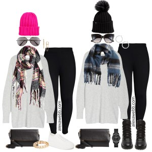 Plus Size Leggings Outfit with Ponte Leggings, A tunic length sweater, plaid scarf, beanie, and crossbody bag - Alexa Webb #plussize #alexawebb