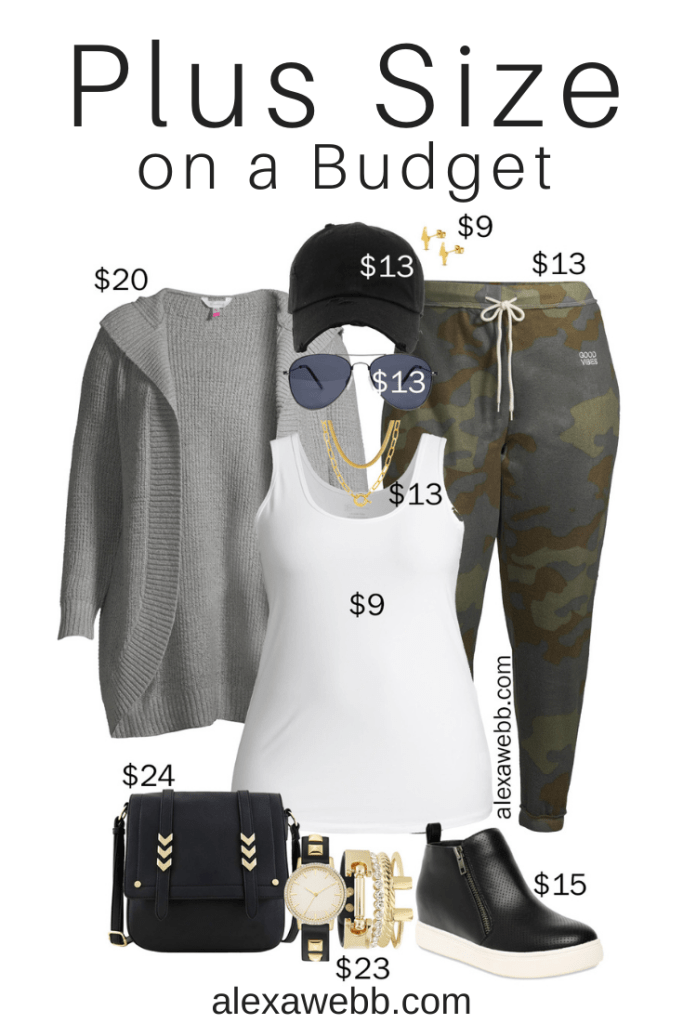 Plus Size on a Budget – Athleisure with Camo Joggers, Hooded Cardigan, Baseball Cap, Wedge Sneakers, and Crossbody Bag - Alexa Webb #plussize #alexawebb