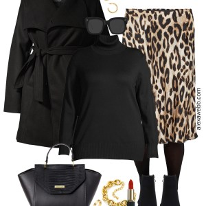 Plus Size on a Budget - Leopard Skirt Work Outfit for Winter with Turtleneck Sweater, Tights, Ankle Booties, and Wrap Coat - Alexa Webb #plussize #alexawebb