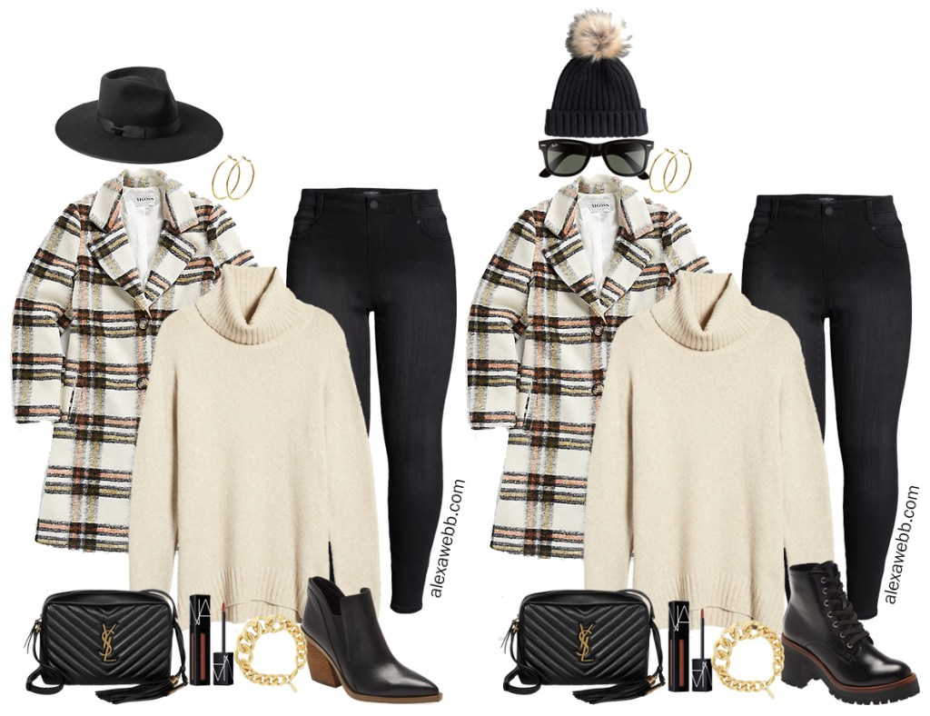 Plus Size Plaid Coat Outfit Ideas with Black Skinny Jeans, Cream Turtleneck Sweater, and Ankle Booties - Winter Outfits - Alexa Webb #plussize #alexawebb