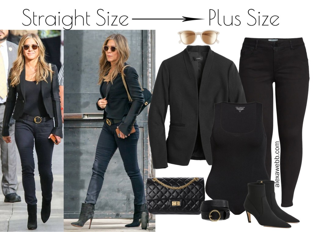 Straight Size to Plus Size All Black Outfit Idea inspired by Jennifer Aniston for fall and winter with black skinny jeans, shrunken blazer, and bodysuit - Alexa Webb #plussize #alexawebb