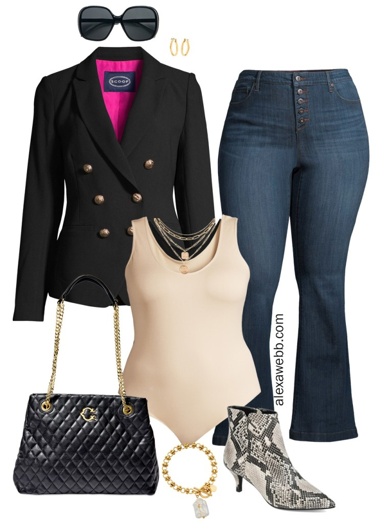 Plus Size Black Blazer Outfit with Walmart with plussize double breasted black blazer, beige bodysuit, flared jeans, and snake booties - Alexa Webb