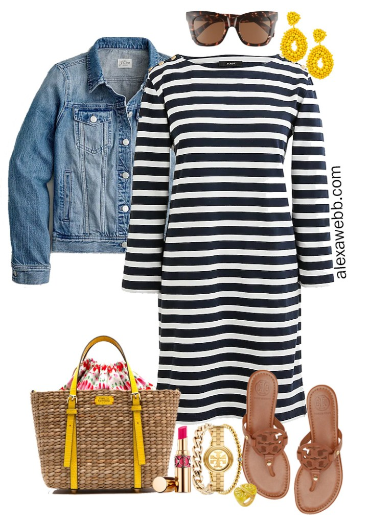 Plus Size Striped Shift Dress Outfit with navy striped dress, denim jacket, Tory Burch sandals, yellow statement earrings, and a rattan bag - Alexa Webb #plussize #alexawebb