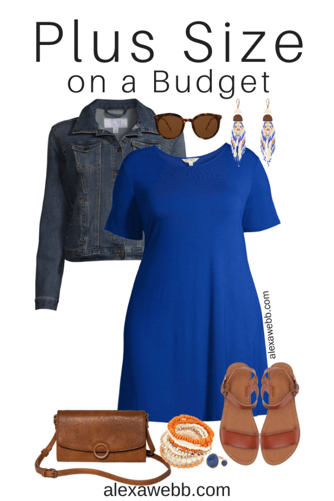 Plus Size on a Budget – Blue Dress Outfit with Denim Jacket, Boho Statement Earrings, Crossbody Bag, and Sandals - Alexa Webb #plussize #alexawebb