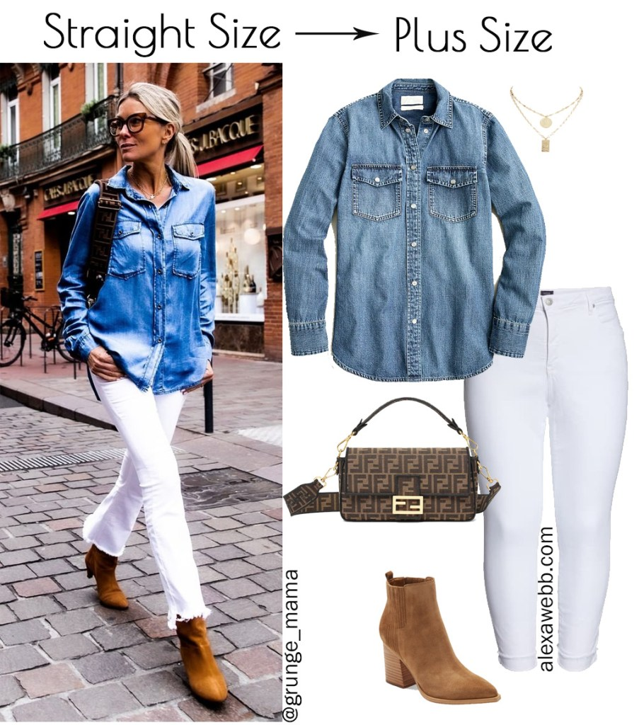 Straight Size to Plus Size – White Jeans Outfit with Chambray Shirt and Ankle Booties for Spring - Alexa Webb