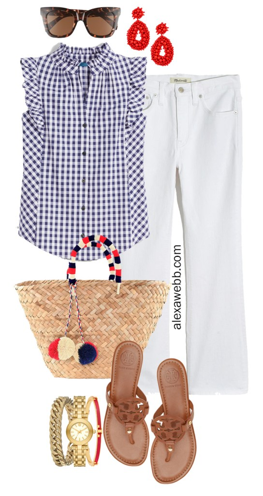 Plus Size Gingham Summer Outfit with white cropped demi boot jeans, blue gingham top, Tory Burch Miller sandals, and straw tote bag - Alexa Webb