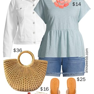 Plus Size on a Budget – Peplum Top Outfit with jean shorts, white denim jacket, a statement necklace, slide sandals, and a straw tote bag - Alexa Webb