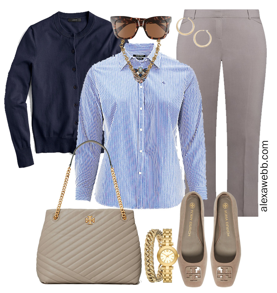 Plus Size Spring Work Outfit Idea from a Plus Size Spring Work Capsule Wardrobe with a Grey Pants and a Blue and White Stripe Button Down Shirt with a Navy Cardigan - Alexa Webb