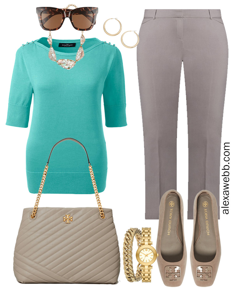 Plus Size Spring Work Outfit Idea from a Plus Size Spring Work Capsule Wardrobe with Grey Pants and an Aqua Short-Sleeve Sweater - Alexa Webb