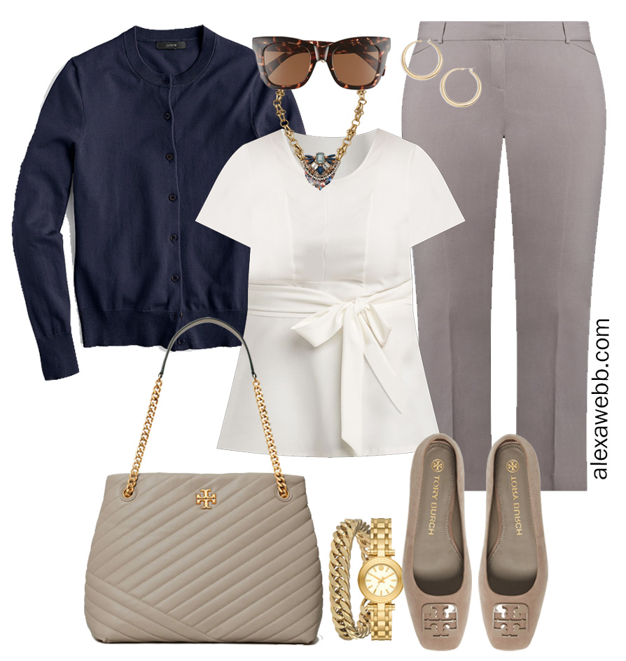 Plus Size Spring Work Outfit Idea from a Plus Size Spring Work Capsule Wardrobe with a Grey Pants and a White Top with a Navy Cardigan - Alexa Webb