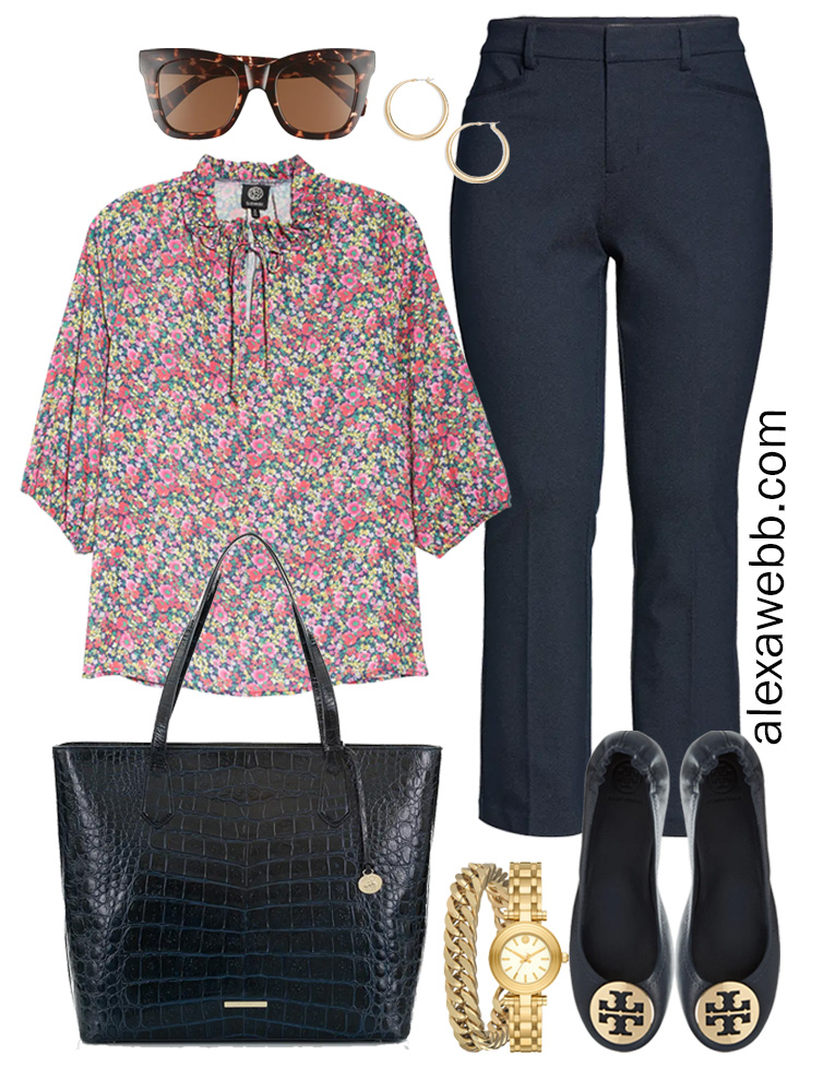 Plus Size Spring Work Outfit Idea from a Plus Size Spring Work Capsule Wardrobe with Navy Bootcut Pants and Floral Top- Alexa Webb