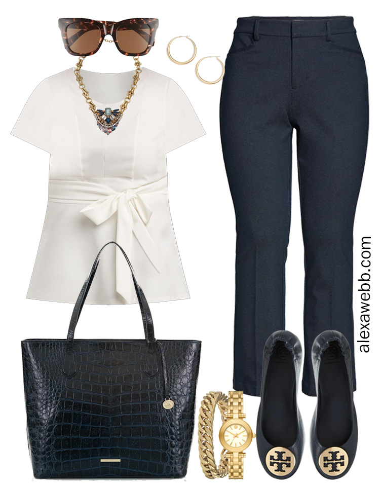 Plus Size Spring Work Outfit Idea from a Plus Size Spring Work Capsule Wardrobe with a Navy Bootcut Pants and a White Top - Alexa Webb