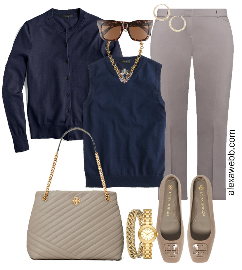 Plus Size Spring Work Outfit Idea from a Plus Size Spring Work Capsule Wardrobe with Grey Pants and a Navy Twinset with a Navy Cardigan - Alexa Webb