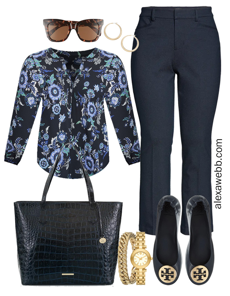Plus Size Spring Work Outfit Idea from a Plus Size Spring Work Capsule Wardrobe with a Navy Bootcut Pants and a Blue Printed Top - Alexa Webb