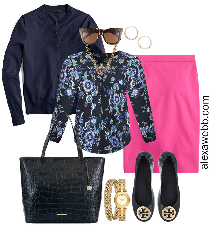 Plus Size Spring Work Outfit Idea from a Plus Size Spring Work Capsule Wardrobe with a Hot Pink Magenta Skirt and a Blue Printed Top with a Navy Cardigan - Alexa Webb