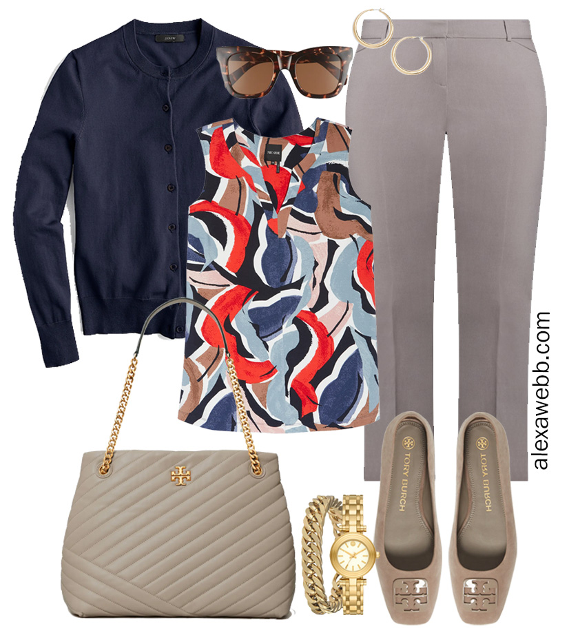 Plus Size Spring Work Outfit Idea from a Plus Size Spring Work Capsule Wardrobe with Grey Pants and a Blue Printed Sleeveless Top and Navy Cardigan - Alexa Webb