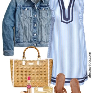 Plus Size Striped Shift Dress with hot pink statement earrings and Tory Burch sandals - Alexa Webb