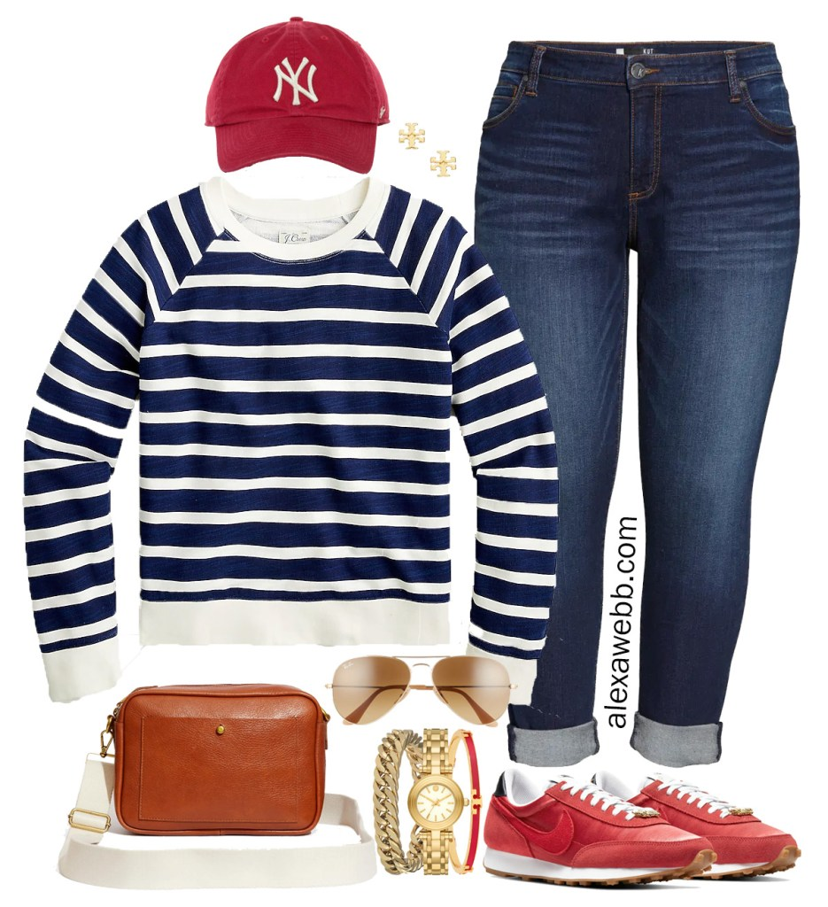 Plus Size Striped Sweatshirt Outfit with Red Sneakers, Boyfriend Jeans, and Red Cap for Spring. I love athleisure! Alexa Webb