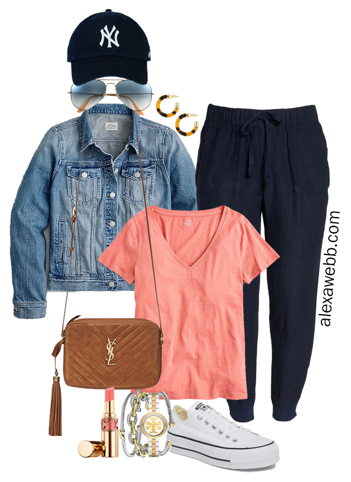 Plus Size Navy Linen Joggers with a baseball cap, coral pink t-shirt, denim jacket, platform Converse sneakers, and Crossbody Bag - Alexa Webb
