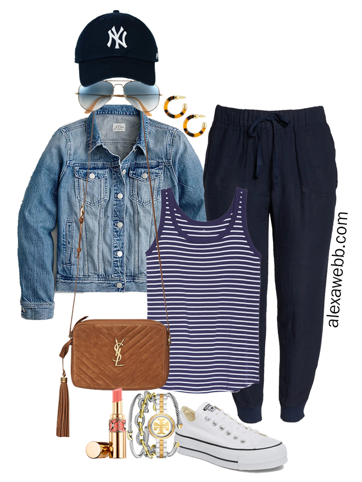 Plus Size Navy Linen Joggers with a baseball cap, navy stripe tank top, denim jacket, platform Converse sneakers, and Crossbody Bag - Alexa Webb
