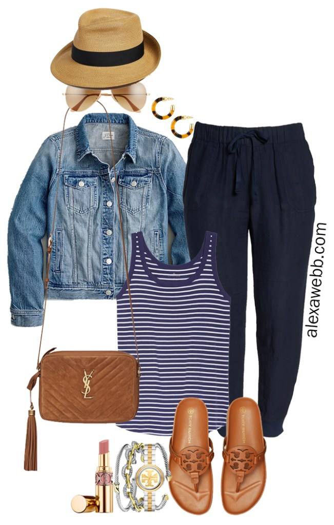 Plus Size Navy Linen Joggers with a straw fedora, navy striped tank top, denim jacket, Tory Burch Miller Cloud sandals, and Crossbody Bag - Alexa Webb