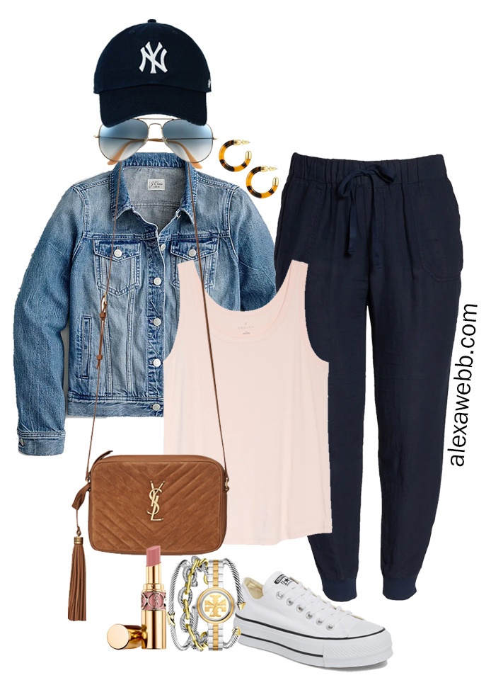 Plus Size Navy Linen Joggers with a blush pink tank, denim jacket, platform Converse sneakers, and Crossbody Bag - Alexa Webb