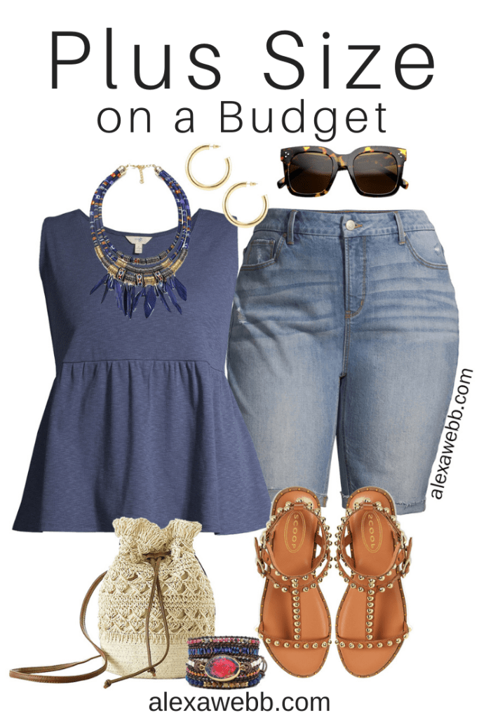 Plus Size on a Budget - Boho Outfits for summer with cut off denim Bermuda shorts, a peplum tank, gladiator sandals, and a crochet bag - Alexa Webb