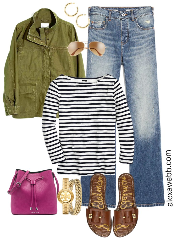 Plus Size Spring Outfit with utility jacket, bootcut jeans, stripe t-shirt, and slide sandals - Alexa Webb