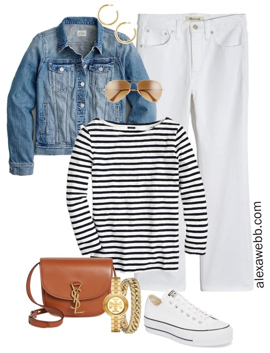 Plus Size Spring Casual Capsule Outfit Idea with cropped bootcut white jeans, stripe t-shirt, and tan crossbody bag - Alexa Webb