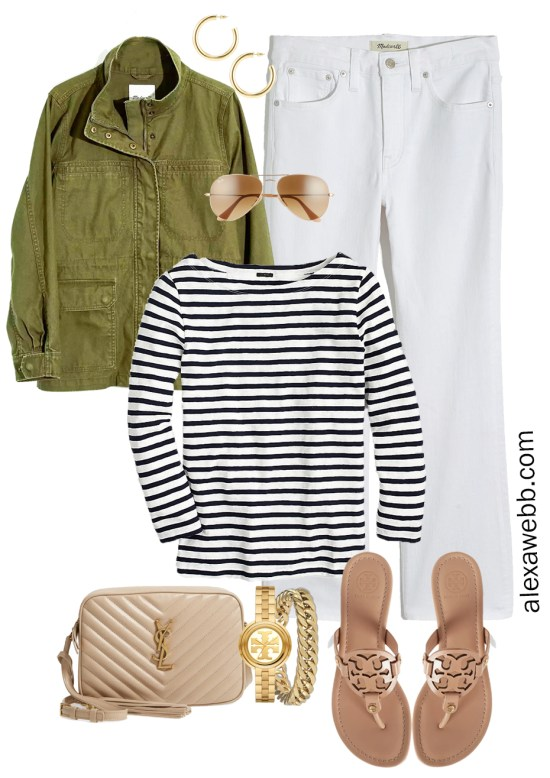 Plus Size Spring Casual Capsule with utility jacket, bootcut cropped white jeans, stripe t-shirt, beige YSL crossbody bag, and makeup Tory Burch Miller sandals - Alexa Webb
