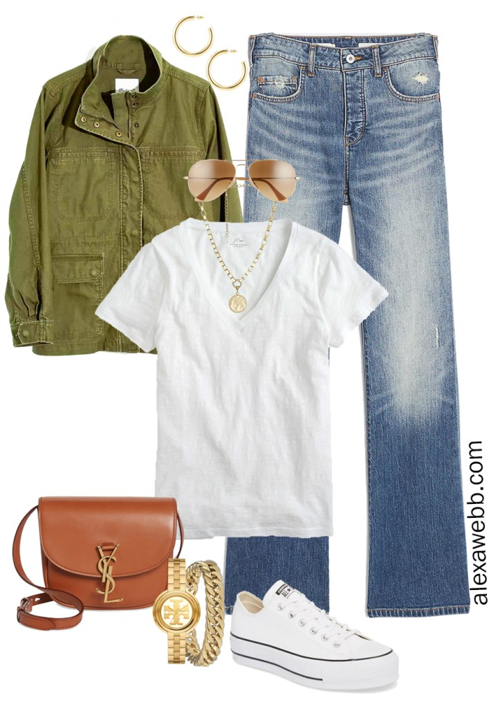 Plus Size Spring Casual Outfit with bootcut jeans, white t-shirt, and platform sneakers - Alexa Webb