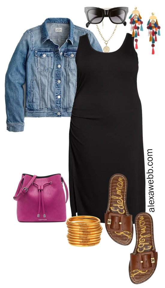 Plus Size Black Tank Dress Outfit with Statement Earrings, Blue Denim Jacket, Magenta Crossbody Bag, and Slide Sandals - Alexa Webb